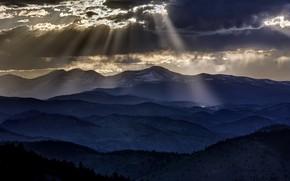 Картинка свет, горы, ночь