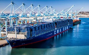 Картинка Судно, Benjamin Franklin, Контейнеровоз, Краны, Port, CMA CGM, Vessel, Container Ship, CMA CGM Benjamin Franklin, ...