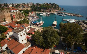 Картинка море, пейзаж, природа, город, берег, дома, яхты, курорт, Турция, Анталья