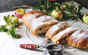 Картинка яблоки, сахарная пудра, яблочный, Natasha Breen, штрудель