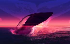 Картинка Закат, Вода, Океан, Море, Рисунок, Кит, Брызги, Fantasy, Арт, Art, Water, Sunset, Фантастика, Ocean, Sea, …