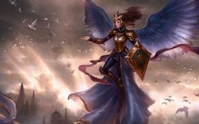 Картинка девушка, закат, птицы, Magic: The Gathering