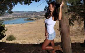 Картинка field, nature, lake, tree, hills, blue sky, outside, countryside, posing, white top, Ela, beautiful face, …