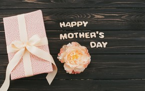 Картинка цветок, подарок, Happy, День Матери, Gift box, mothers day