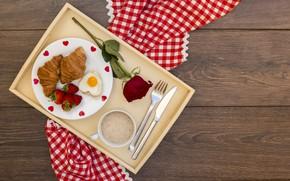 Картинка любовь, розы, завтрак, сердечки, love, romantic, hearts, coffee cup, strawberry, valentine, круассаны, croissant, breakfast, roses, …