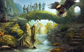 Картинка пейзаж, солдаты, старец