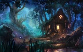 Картинка лес, фэнтези, арт, домик, Anna Anikeyka, Enviroment#3