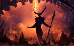 Картинка Рисунок, Монстр, Силуэт, Демон, Пейзаж, Арт, Landscapes, Digital Art, Дьявол, TacoSauceNinja, by TacoSauceNinja, Soul judgement