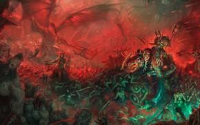 Картинка армия, Warhammer, хаос, демоны, chaos, army, Вархаммер, demons, barbarian, варвары, Khorne Berserkers, Берсеркеры, Кхорн