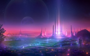 Картинка небо, трава, звезды, свет, люди, фантастика, дерево, планета, башня, утро, арт