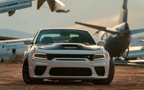 Картинка Muscle, Dodge, Front, Charger, White, Dodge Charger, Tuning, Scat Pack, Hemi 392