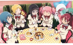 Картинка чаепитие, веселье, подруги, скатерть, Akemi Homura, Kyubey, Mahou Shoujo Madoka Magica, Mami Futami, шоколадный кекс, …