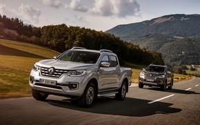 Обои серый, трасса, Renault, коричневый, 4x4, 2017, Alaskan, пикапы