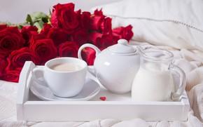 Картинка романтика, кофе, розы, завтрак, утро, поднос, Zulfiska