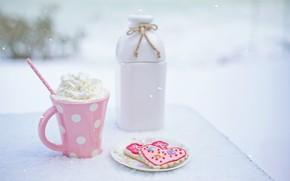 Картинка зима, снег, розовый, сливки, напиток, heart, pink, winter, snow, cup, drink, cookies, печенья, outdoor