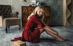 Картинка взгляд, книги, портрет, кресло, босиком, макияж, платье, прическа, блондинка, красотка, сидит, в красном, на полу, ...