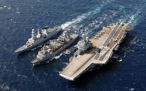 Картинка Океан, Волны, Авианосец, Dassault Rafale, Rafale M, ВМС Франции, Charles de Gaulle (R91), Dassault Rafale …