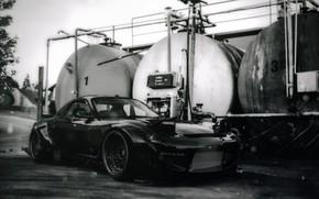 Картинка Авто, Машина, Mazda, RX-7, Mazda RX7, Mazda RX-7, RX7, Rocket Bunny, Черно - белое, Transport …