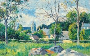 Картинка 1896, French Neo-impressionist artist, Максимильен Люс, французский художник-неоимпрессионист, Maximilien Luce, Le Village a travers les …
