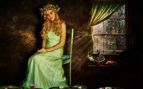 Картинка девушка, цветы, комната, фотоарт