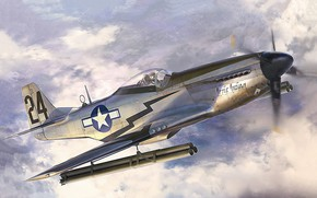 Картинка art, airplane, aviation, P-51D Mustang