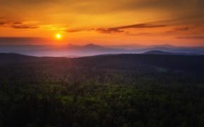 Картинка небо, солнце, облака, деревья, природа, вечер, Павел Сагайдак, Урал-тау