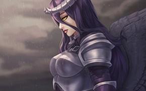 Картинка девушка, арт, рога, Overlord, доспех, Armored Albedo