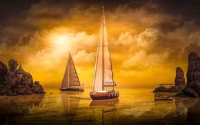 Картинка небо, солнце, облака, свет, пейзаж, закат, птицы, природа, отражение, рендеринг, скалы, берег, лодка, корабли, лодки, …