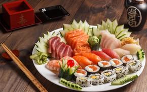 Картинка рыба, рис, суши, ассорти