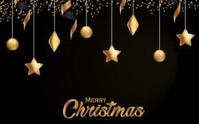 Картинка украшения, золото, Новый Год, Рождество, golden, черный фон, black, Christmas, background, New Year, decoration, xmas, …