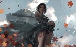 Картинка girl, fantasy, dress, legs, water, blue eyes, leaves, elf, reflection, digital art, artwork, princess, fantasy …