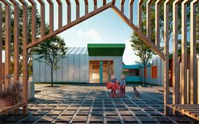 Картинка дети, собака, двор, строение, Детский сад и культурный центр