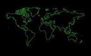 Картинка зеленый, мир, черный фон, карта мира