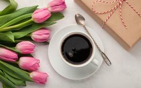 Картинка подарок, кофе, букет
