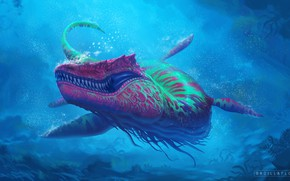 Картинка Океан, Море, Хищник, Fantasy, Monster, Art, Predator, Style, Underwater, Фантастика, Под водой, Ocean, Sea, Гигант, …