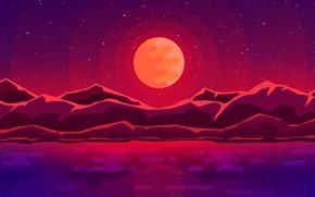 Картинка море, горы, луна
