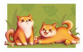 Картинка игра, собака, аниме, арт, косточка, детская, Shiba Inu, Flor De Jager
