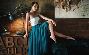 Обои девушка, поза, буквы, книги, лампа, юбка, картина, ножки, Sergey Fat, Сергей Жирнов, Александра Кузьмичева