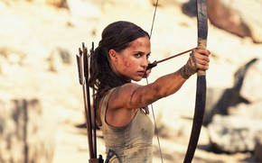 Обои лук, чумазая, боевик, приключения, девушка, боке, Lara Croft, майка, стрелы, Tomb Raider: Лара Крофт, Tomb ...