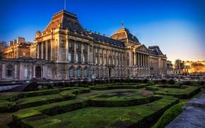 Картинка небо, солнце, дизайн, газон, Бельгия, Брюссель, кусты, дворец, Brussels, Royal Palace