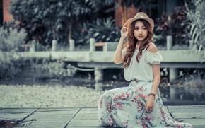 Картинка девушка, шляпа, платье, азиатка