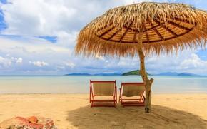 Картинка песок, море, пляж, лето, небо, солнце, пальмы, берег, зонт, шезлонг, summer, beach, sea, umbrella, seascape, …
