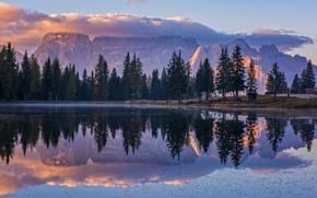 Обои облака, деревья, горы, природа, озеро, отражение, утро, Csilla Zelko
