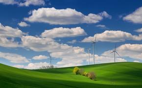 Картинка поле, облака, холмы, ветряки, field, clouds, hills, windmills, Ales Komovec
