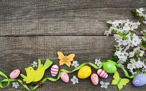 Картинка цветы, яйца, colorful, Пасха, happy, wood, blossom, flowers, spring, Easter, eggs, decoration