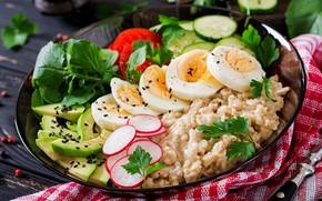 Картинка завтрак, овощи, eggs, перловка, каша •