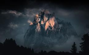 Картинка небо, облака, снег, деревья, горы, природа, скалы