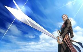 Картинка небо, меч, мужчина