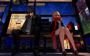Картинка девушка, скамейка, парень