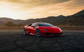 Картинка горы, красный, Lamborghini Huracan